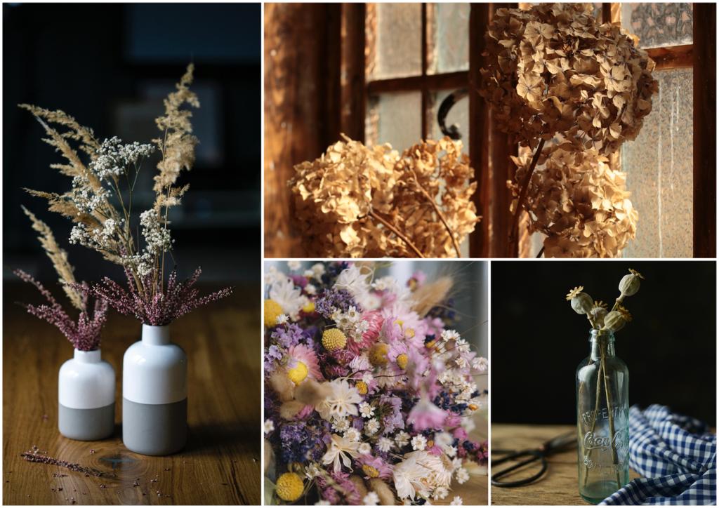 les fleurs séchées en bouquet placées dans un vase minimaliste ou une bouteille en verre donne une dimension vintage à la pièce